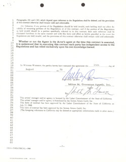 ANTHONY QUINN - CONTRACT SIGNED 08/15/1970 CO-SIGNED BY: MILTON M. GROSSMAN