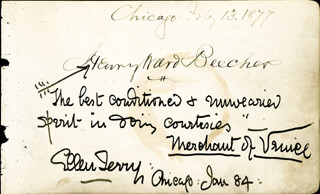 HENRY WARD BEECHER - AUTOGRAPH CO-SIGNED BY: ELLEN TERRY