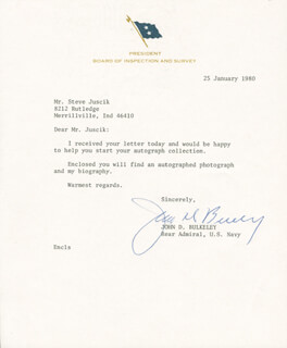Autographs: VICE ADMIRAL JOHN D. BULKELEY - TYPED LETTER SIGNED 01/25/1980