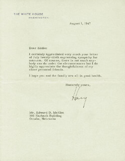PRESIDENT HARRY S TRUMAN - TYPED LETTER SIGNED 08/01/1947