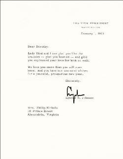 PRESIDENT LYNDON B. JOHNSON - TYPED LETTER SIGNED 01/01/1963
