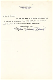 STEPHEN VINCENT BENET - TYPED LETTER SIGNED