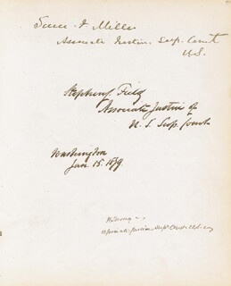 Autographs: ASSOCIATE JUSTICE STEPHEN J. FIELD - SIGNATURE(S) 01/15/1879 CO-SIGNED BY: JEREMIAH S. BLACK, ASSOCIATE JUSTICE WILLIAM STRONG, ASSOCIATE JUSTICE SAMUEL F. MILLER, ALBERT G. PORTER