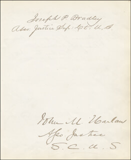 ASSOCIATE JUSTICE JOHN M. HARLAN, SR. - AUTOGRAPH CO-SIGNED BY: ASSOCIATE JUSTICE JOSEPH P. BRADLEY, REAR ADMIRAL EARL ENGLISH