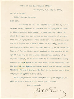 Autographs: MAJOR GENERAL ADOLPHUS W. GREELY - TYPED LETTER SIGNED 05/02/1893