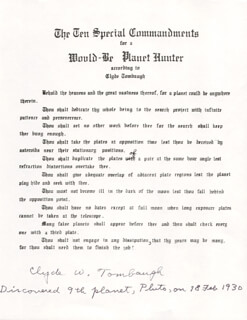 Autographs: CLYDE WILLIAM TOMBAUGH - TYPESCRIPT SIGNED