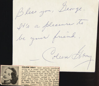 Autographs: COLEEN GRAY - AUTOGRAPH NOTE SIGNED