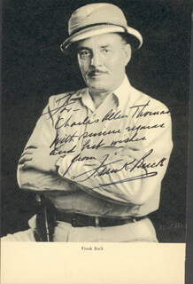 Autographs: FRANK BRING 'EM BACK ALIVE BUCK - INSCRIBED BOOK PHOTOGRAPH SIGNED