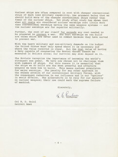 ADMIRAL HYMAN G. RICKOVER - TYPED LETTER SIGNED 03/03/1975