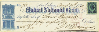 GENERAL PIERRE G.T. BEAUREGARD - AUTOGRAPHED SIGNED CHECK 08/10/1880
