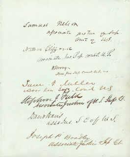 ASSOCIATE JUSTICE SAMUEL NELSON - AUTOGRAPH CO-SIGNED BY: ASSOCIATE JUSTICE NATHAN CLIFFORD, ASSOCIATE JUSTICE WILLIAM STRONG, ASSOCIATE JUSTICE SAMUEL F. MILLER, ASSOCIATE JUSTICE JOSEPH P. BRADLEY, ASSOCIATE JUSTICE DAVID D. DAVIS, ASSOCIATE JUSTICE STEPHEN J. FIELD