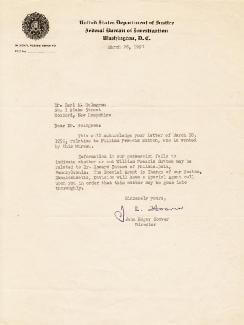 J. EDGAR HOOVER - TYPED LETTER SIGNED 03/28/1950  - HFSID 253414