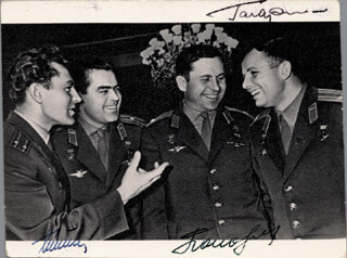 Autographs: COLONEL YURI GAGARIN - PHOTOGRAPH SIGNED CO-SIGNED BY: MAJOR GENERAL PAVEL POPOVICH, GENERAL GHERMAN TITOV