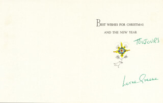 LORNE GREENE - CHRISTMAS / HOLIDAY CARD SIGNED