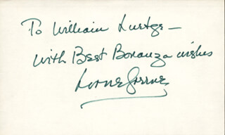 LORNE GREENE - AUTOGRAPH NOTE SIGNED