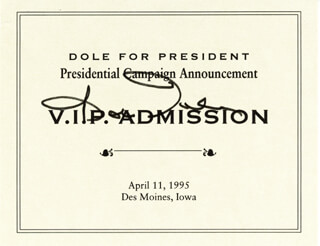 Autographs: ROBERT J. BOB DOLE - TICKET SIGNED CIRCA 1995