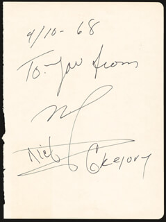 DICK GREGORY - AUTOGRAPH SENTIMENT SIGNED 04/10/1968