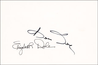 Autographs: ROBERT J. BOB DOLE - SIGNATURE(S) CO-SIGNED BY: ELIZABETH H. DOLE