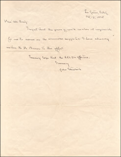 JOHN STEINBECK - AUTOGRAPH LETTER SIGNED 10/13/1938