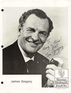 JAMES GREGORY - INSCRIBED PRINTED PHOTOGRAPH SIGNED IN INK
