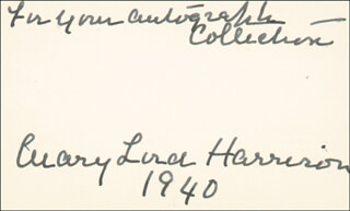 Autographs: FIRST LADY MARY LORD HARRISON - AUTOGRAPH NOTE SIGNED 1940