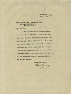 Autographs: PRESIDENT GROVER CLEVELAND - TYPED LETTER SIGNED 03/05/1907