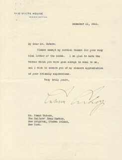 PRESIDENT CALVIN COOLIDGE - TYPED LETTER SIGNED 12/11/1923