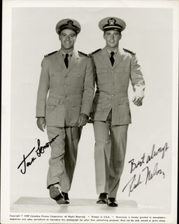 WACKIEST SHIP IN THE ARMY MOVIE CAST - AUTOGRAPHED SIGNED PHOTOGRAPH CO-SIGNED BY: JACK LEMMON, RICK NELSON