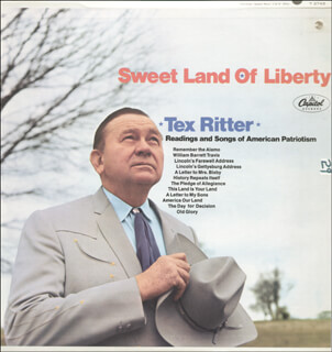 TEX RITTER - INSCRIBED RECORD ALBUM COVER SIGNED 1972 CO-SIGNED BY: DOROTHY FAY
