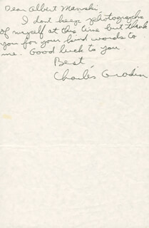 CHARLES GRODIN - AUTOGRAPH NOTE SIGNED