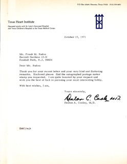 DR. DENTON A. COOLEY - TYPED LETTER SIGNED 10/19/1971