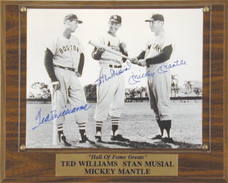 MICKEY MANTLE - AUTOGRAPHED SIGNED PHOTOGRAPH CO-SIGNED BY: STAN THE MAN MUSIAL, TED WILLIAMS