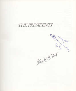 PRESIDENT GERALD R. FORD - BOOK SIGNED CIRCA 1990 CO-SIGNED BY: ROBERT J. BOB DOLE