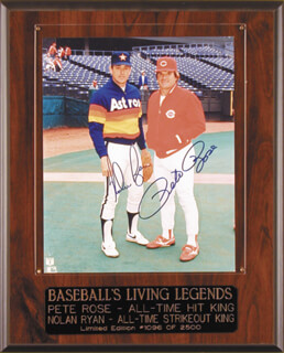 NOLAN RYAN - AUTOGRAPHED SIGNED PHOTOGRAPH CO-SIGNED BY: PETE ROSE