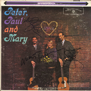 PETER, PAUL & MARY - RECORD ALBUM COVER SIGNED CO-SIGNED BY: PETER, PAUL & MARY (PAUL STOOKEY), PETER, PAUL & MARY (PETER YARROW), PETER, PAUL & MARY (MARY TRAVERS)