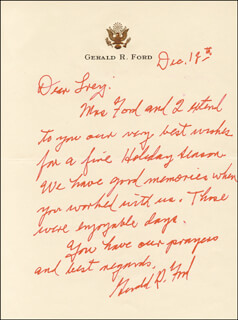 PRESIDENT GERALD R. FORD - AUTOGRAPH LETTER SIGNED 12/18
