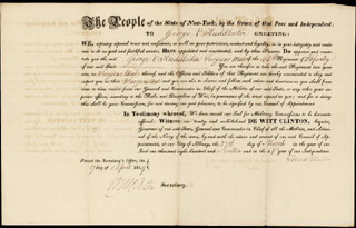 GOVERNOR DEWITT CLINTON - MILITARY APPOINTMENT SIGNED 04/17/1819