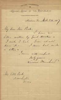 GOVERNOR LUCIUS FAIRCHILD - AUTOGRAPH LETTER SIGNED 03/24/1887
