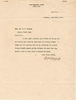 Autographs: MAJOR GENERAL GEORGE W. GOETHALS - TYPED LETTER SIGNED 06/25/1914
