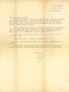 AL (ALPHONSO J.) JENNINGS - TYPED LETTER SIGNED 07/10/1939