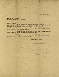 AL (ALPHONSO J.) JENNINGS - TYPED LETTER SIGNED 06/26/1939