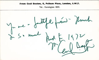 SIR CECIL W. BEATON - AUTOGRAPH NOTE SIGNED 1972