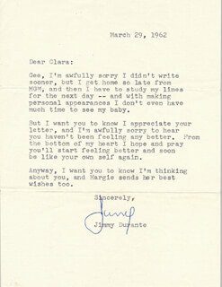 JIMMY SCHNOZZOLA DURANTE - TYPED LETTER SIGNED 03/29/1962