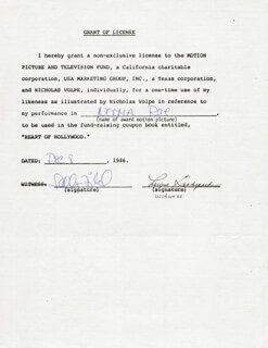 SALLY FIELD - DOCUMENT SIGNED 12/08/1986
