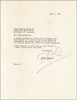 GYPSY ROSE LEE - TYPED LETTER SIGNED 06/07/1961