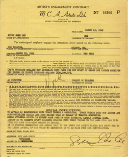GYPSY ROSE LEE - CONTRACT SIGNED 03/13/1945