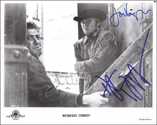 MIDNIGHT COWBOY MOVIE CAST - PRINTED PHOTOGRAPH SIGNED IN INK CO-SIGNED BY: DUSTIN HOFFMAN, JON VOIGHT
