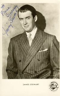 JAMES JIMMY STEWART - INSCRIBED PICTURE POSTCARD SIGNED