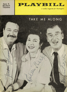 TAKE ME ALONG BROADWAY CAST - PLAY SIGNED CIRCA 1959 CO-SIGNED BY: EILEEN HERLIE, WALTER PIDGEON, JACKIE THE GREAT ONE GLEASON