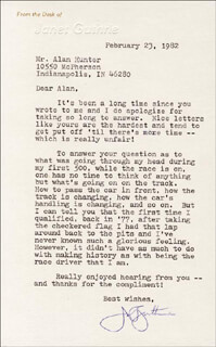 JANET GUTHRIE - TYPED LETTER SIGNED 02/23/1982